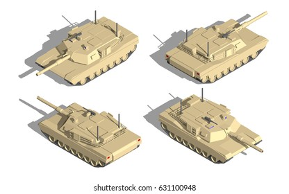 Military Transportation isometric vector. tank with machine gun.