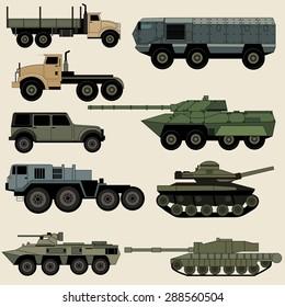 Military transportation vector image design set.