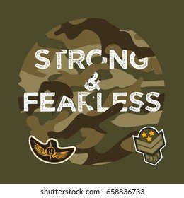 Military Typography Slogan College With Army Badge, Pin, Patch Soldier T-shirt and apparels print graphic vector Varsity typography Urban Camo.