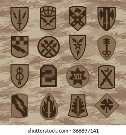 Military unit patch insignia set tan