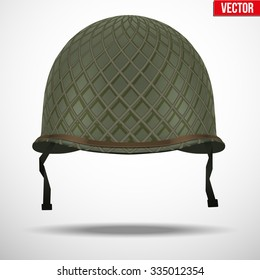 4d53200e8a8 Military US green helmet infantry with net of WWII. Metallic army symbol of  defense.