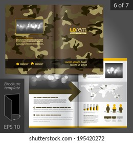 Military vector brochure template design with camouflage pattern