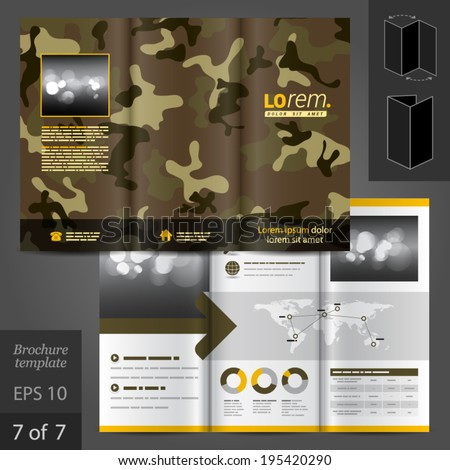 military vector brochure template design camouflage stock vector