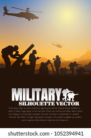 Military vector illustration, Army background, soldiers silhouettes, Artillery silhouettes vector, Cavalry silhouettes vector, Airborne vector.