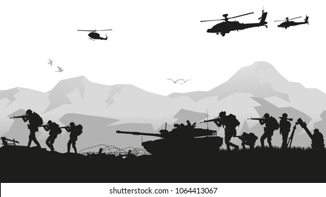 Military vector illustration, Army background of soldier silhouettes. Artillery, Cavalry, Airborne or Army Medical.