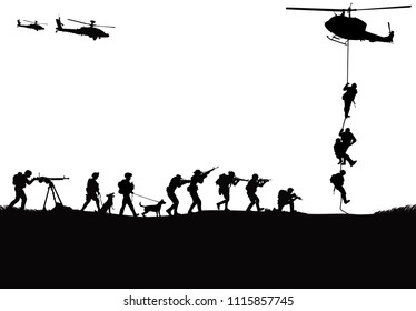 Military vector illustration, Army background, soldiers silhouettes,Military dog, Artillery, Cavalry, Airborne, Army Medical.