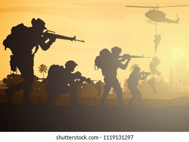 Military vector illustration, Army background, soldiers silhouettes, Artillery, Cavalry, Airborne, Army Medical.