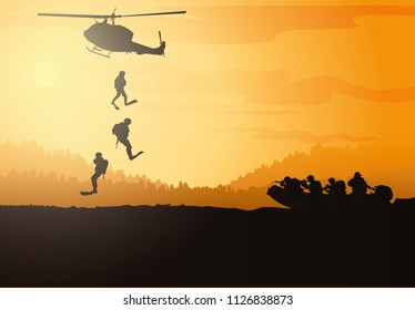 Military vector illustration, Army background, Navy seal silhouettes vector.
