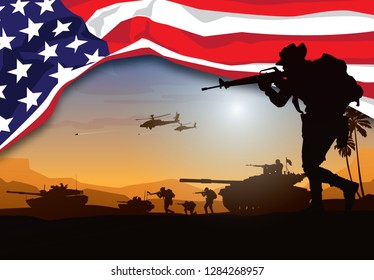 Military vector illustration, Army background, soldiers silhouettes with american flag.