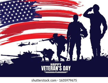 Military vector illustration, Army background, soldiers silhouettes,Happy veterans day.
