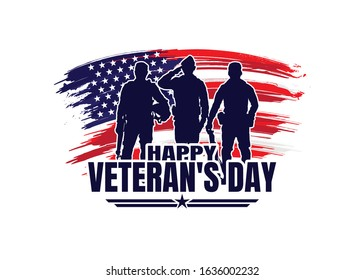 Military vector illustration, Army background, soldiers silhouettes,Happy veterans day .
