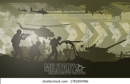 Military vector illustration, Army background, soldiers silhouettes, Happy veterans day .