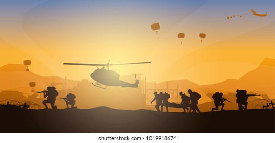 Military vector illustration, Army soldiers, Artillery silhouettes vector, Cavalry silhouettes vector, Military silhouettes background, Airborne silhouettes vector.