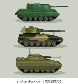 Military Vector tanks image design set in different variations for your design, illustration needs.