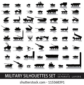 Military vectors. Tanks and vehicles. Detailed silhouettes collection