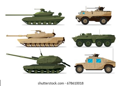Military vehicle. Different artillery machines support. Heavy army transport isolated on white. Illustrations in flat style