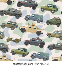 Military vehicle vector army car and armored truck or armed machine illustration set of war transportation seamless pattern background