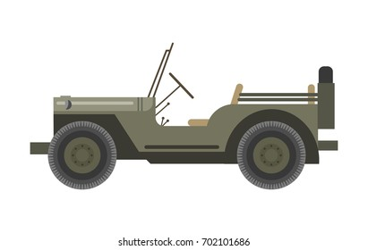 Military vehicle without roof and with spear tire behind