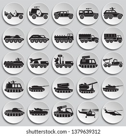 Military vehicles icons set on  background for graphic and web design. Simple vector sign. Internet concept symbol for website button or mobile app