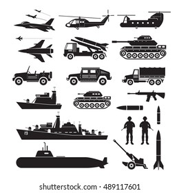 Military Vehicles Object Silhouette Set, Side View, Army, Air Force, Navy, Marine, Black and White Icons and Symbols
