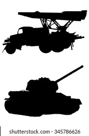 Military vehicles silhouette