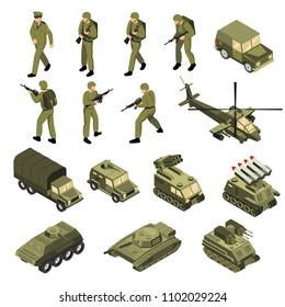 Military vehicles soldiers commanders set of isolated tactical transport units and fighting entities with human characters vector illustration