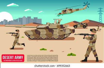 Military war modern army in a mideast desert sand dunes battle field with Self-propelled artillery tank vector design cool flat illustration