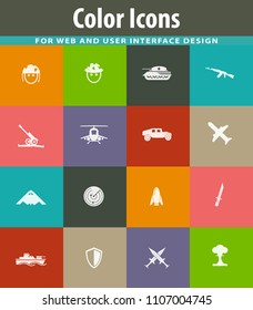 Military and war simply icons for web and user interfaces