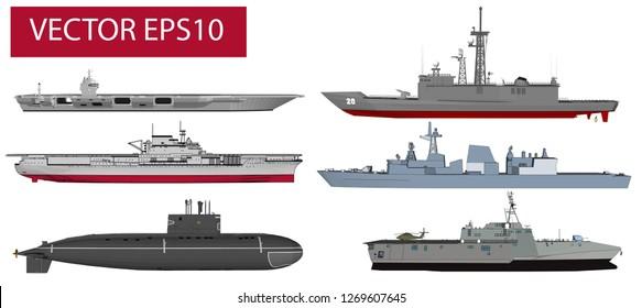 Military warship vector set