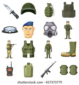 Military weapon icons set in cartoon style. Army equipment set collection vector illustration