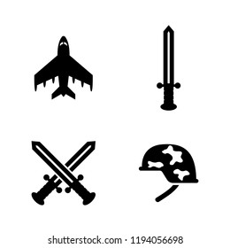 Military Weapons. Simple Related Vector Icons Set for Video, Mobile Apps, Web Sites, Print Projects and Your Design. Military Weapons icon Black Flat Illustration on White Background.
