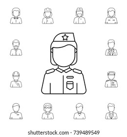 Military woman avatar. Set of avatar icons on white background