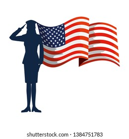 military woman silhouette with usa flag