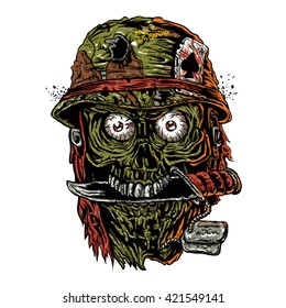 military zombie with knife in mouth