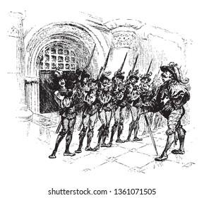 A militia lined up, vintage line drawing or engraving illustration