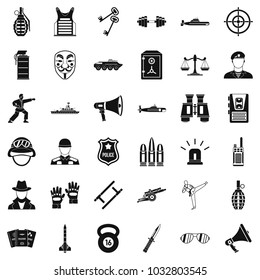 Militia officer icons set. Simple set of 36 militia officer vector icons for web isolated on white background