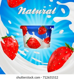 Milk ad or 3d strawberry yogurt flavor promotion. milk splash with fruits isolated on blue. instant oatmeal advertising, open field background, 3d illustration