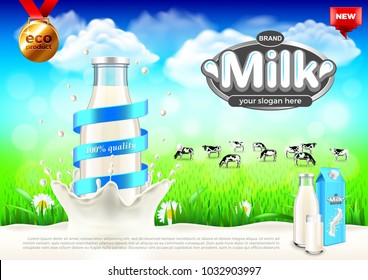 Milk ads. Bottle in splash and rural landscape. 3d illustration and packaging