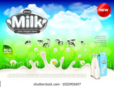 Milk ads. Cows on green field farm background. 3d illustration and packaging