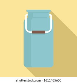 Milk aluminium pot icon. Flat illustration of milk aluminium pot vector icon for web design