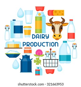 Milk background with dairy products and objects.