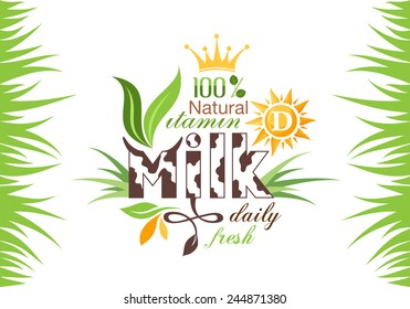 Milk banner with grass for your design