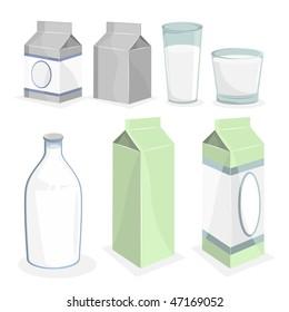 Milk Bottle and Boxes. Vector Illustration.
