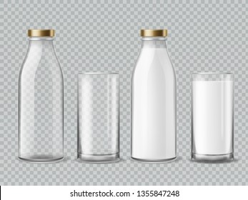 Milk bottle and glass. Empty and full milk realistic bottles and shiny glasses container dairy beverage product isolated vector mockup