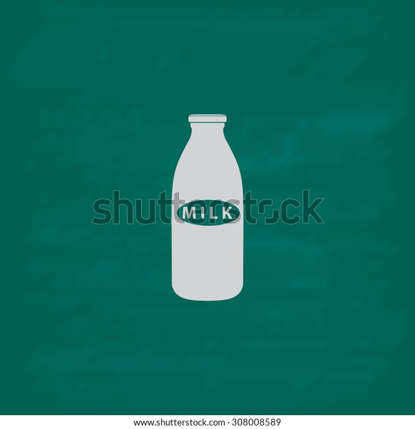 Milk bottle. Icon. Imitation draw with white chalk on green chalkboard. Flat Pictogram and School board background. Vector illustration symbol