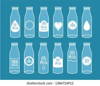 Milk bottle icons set. Vector image