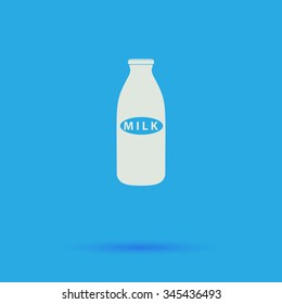 Milk bottle White flat vector simple icon on blue background with shadow