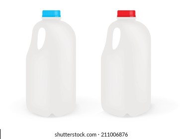Milk Bottles Isolated on White Background
