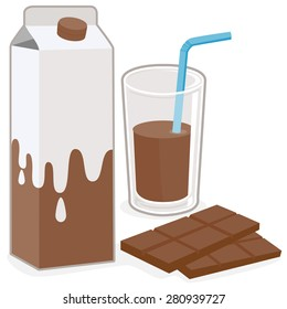 Milk box and glass of chocolate flavored milk and a bar of chocolate. Vector illustration