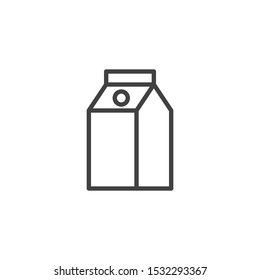 Milk box packaging line icon. linear style sign for mobile concept and web design. Juice Package outline vector icon. Symbol, logo illustration. Vector graphics
